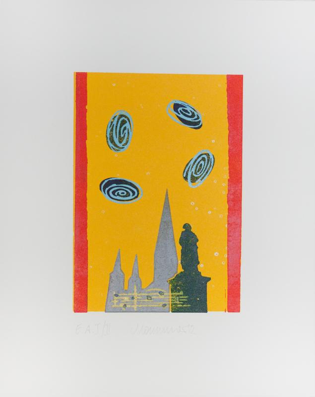 6. Auf dem Hintergrund der Bonner Stadtfahne zeigen sich die Münsterkirche und Beethovendenkmal. Darüber schweben die vier berühmten Anfangsnoten der 5. Sinfonie.