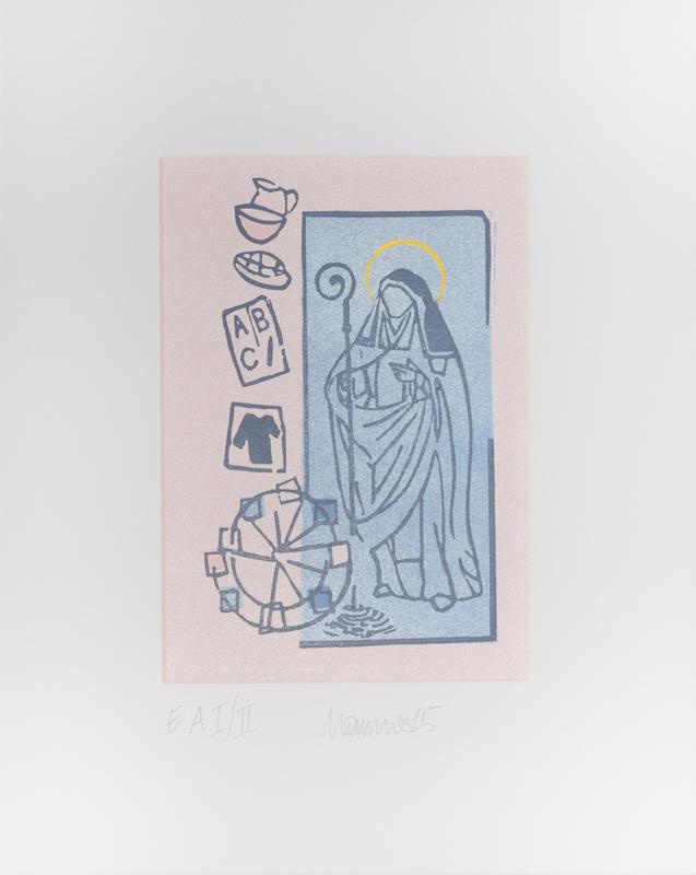 11 Heilige Adelheid Ihre an den Bedürftigen erwiesenen Wohltaten zeigen sich wie folgt: Trinkgefäß und Schüssel, sowie (Adelheidis)-Brot als Zeichen der Speisung, die Bildung symbolisiert mit ABC und Griffel, ein Hemd als Zeichen für die Einkleidung. Dargestellt sind auch das Quellenwunder zu Pützchen, so wie das stets wachsende Markttreiben zu Pützchen.